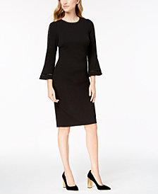 Calvin Klein Scalloped Bell-Sleeve Dress
