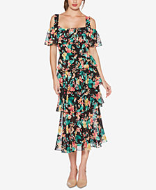 Laundry by Shelli Segal Tiered Floral-Print Cold-Shoulder Maxi Dress