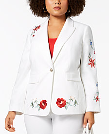 Nine West Plus Size Embroidered Double-Weave One-Button Jacket