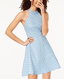 B Darlin Juniors' Polka Dot Halter Dress