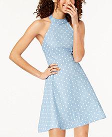 B Darlin Juniors' Polka Dot Halter Dress