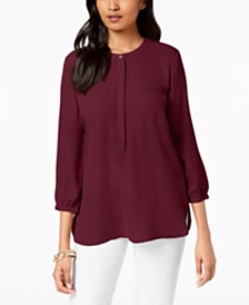 JM Collection Petite Pleated-Back Blouse, Created for Macy's