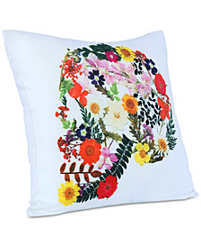 "Berkshire Brooklyn Industries Floral Skull-Print 20"" Square Decorative Pillow"