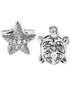 2-Pc. Set Cubic Zirconia Starfish and Turtle Bead Charms in Sterling Silver