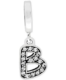 Cubic Zirconia Inital Charm in Sterling Silver