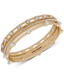 Anne Klein Gold-Tone 3-Pc. Set Crystal & Imitation Pearl Bangle Bracelets, Created for Macy's