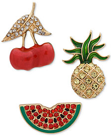 Anne Klein Gold-Tone 3-Pc. Set Crystal Fruit Pins, Created for Macy's