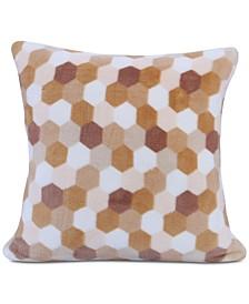 """Tonal Honeycomb-Print 18"""" Square Plush Decorative Pillow"""