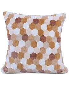 """Berkshire Tonal Honeycomb-Print 18"""" Square Plush Decorative Pillow"""