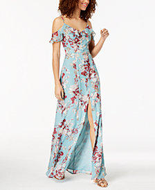 Emerald Sundae Juniors' Floral Cold-Shoulder Maxi Dress