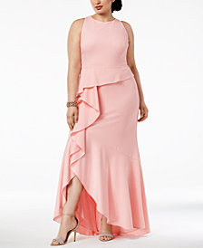 Adrianna Papell Plus Size Cascading Ruffle Gown