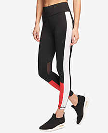 DKNY Sport Colorblocked High-Rise Mesh-Inset Ankle Leggings, Created for Macy's