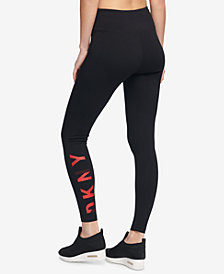 DKNY Sport High-Rise Logo Ankle Leggings, Created for Macy's