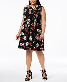 Monteau Trendy Plus Size Floral-Print Caged-Neck Fit & Flare Dress