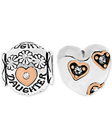 Rhona Sutton Two-Tone 2-Pc. Set Cubic Zirconia Floral Daughter & Heart Bead Charms in Sterling Silver