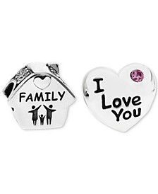 2-Pc. Family Home & Heart Bead Charms in Sterling Silver