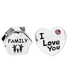 Rhona Sutton 2-Pc. Family Home & Heart Bead Charms in Sterling Silver