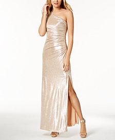 Calvin Klein Metallic Ruched One-Shoulder Gown