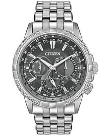 Citizen Eco-Drive Men's Calendrier Diamond-Accent Stainless Steel Bracelet Watch 44mm