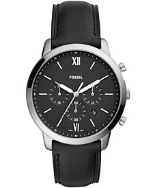 Fossil Men's Chronograph Neutra Black Leather Strap Watch 44mm