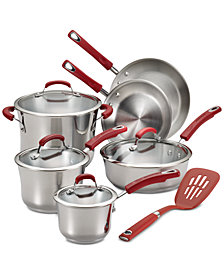 Rachael Ray Classic Brights Stainless Steel 11-Pc. Cookware Set