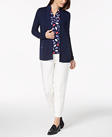 Anne Klein Open-Front Cardigan, V-Neck Top & Slim-Fit Pants