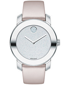Movado Women's Swiss BOLD Blush Leather Strap Watch 36mm