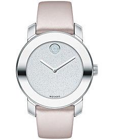 Movado Women's Swiss BOLD Blush Leather Strap Watch 36mm