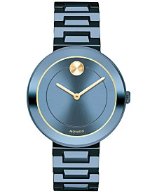 Movado Women's Swiss BOLD Blue Stainless Steel Bracelet Watch 34mm