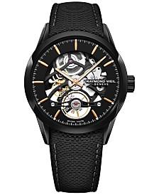 RAYMOND WEIL Men's Swiss Automatic Freelancer 1212 Black Leather Strap Watch 42mm