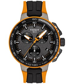 Tissot Men's Swiss Chronograph T-Sport T-Race Cycling Black & Orange Silicone Strap Watch 44.5mm