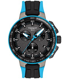 Men's Swiss Chronograph T-Sport T-Race Cycling Black & Blue Silicone Strap Watch 44.5mm
