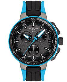 Tissot Men's Swiss Chronograph T-Sport T-Race Cycling Black & Blue Silicone Strap Watch 44.5mm