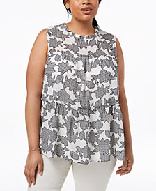 Monteau Trendy Plus Size Printed Ruffled Top
