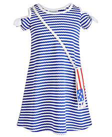 Bonnie Jean Little Girls 2-Pc. Striped Cold Shoulder Dress & Flag Shoulder Bag Set