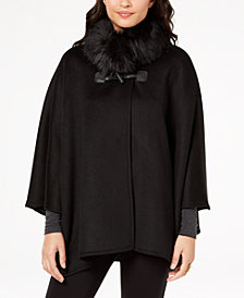 Jones New York Faux-Fur-Collar Cape Coat