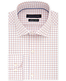 Tommy Hilfiger Men's Big & Tall Classic/Regular Fit Non-Iron Performance Flex Supima Orange Check Dress Shirt