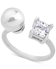 Majorica Sterling Silver Square Cubic Zirconia & Imitation Pearl Open Ring