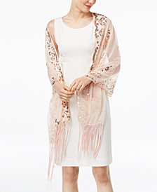 I.N.C. Floral Sequined Fringe Evening Wrap, Created for Macy's