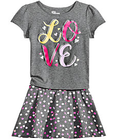 Epic Threads  Little Girls Graphic-Print T-Shirt & Dot-Print Skirt, Created for Macy's