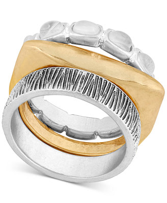 Two Tone Stone & Textured Stack Look Ring by Lucky Brand