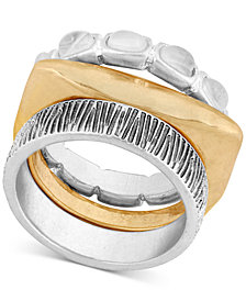 Lucky Brand Two-Tone Stone & Textured Stack-Look Ring