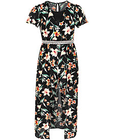 Monteau Big Girls Floral-Print Maxi-Overlay Romper