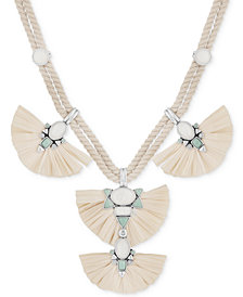 "Lucky Brand Silver-Tone Multi-Stone Raffia Braided Cord Statement Necklace, 17-1/2 + 2"" extender"