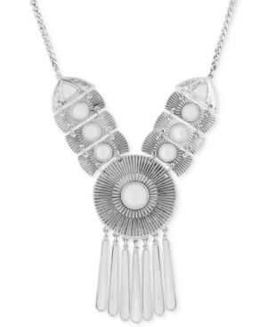 "Lucky Brand Silver-Tone Medallion Statement Necklace, 17"" + 2"" extender"
