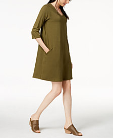 Eileen Fisher Organic Cotton 3/4-Sleeve A-Line Dress, Regular & Petite
