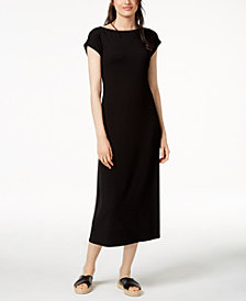 Eileen Fisher Stretch Jersey Boat-Neck Tie-Waist Dress