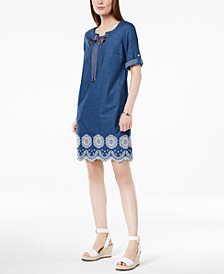 Tommy Hilfiger Cotton Embroidered-Hem Dress, Created for Macy's