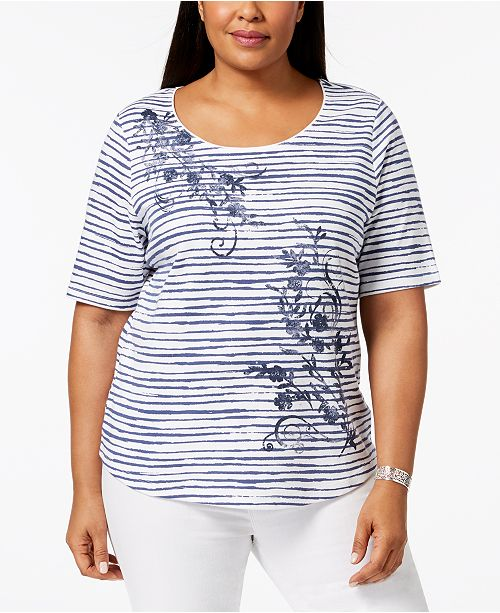 Blue Karen for Printed Scott Size Embellished Top Macy's Plus Intrepid Created TqZT7rv