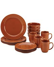 Cucina Pumpkin Orange 16-Pc. Dinnerware Set, Service for 4